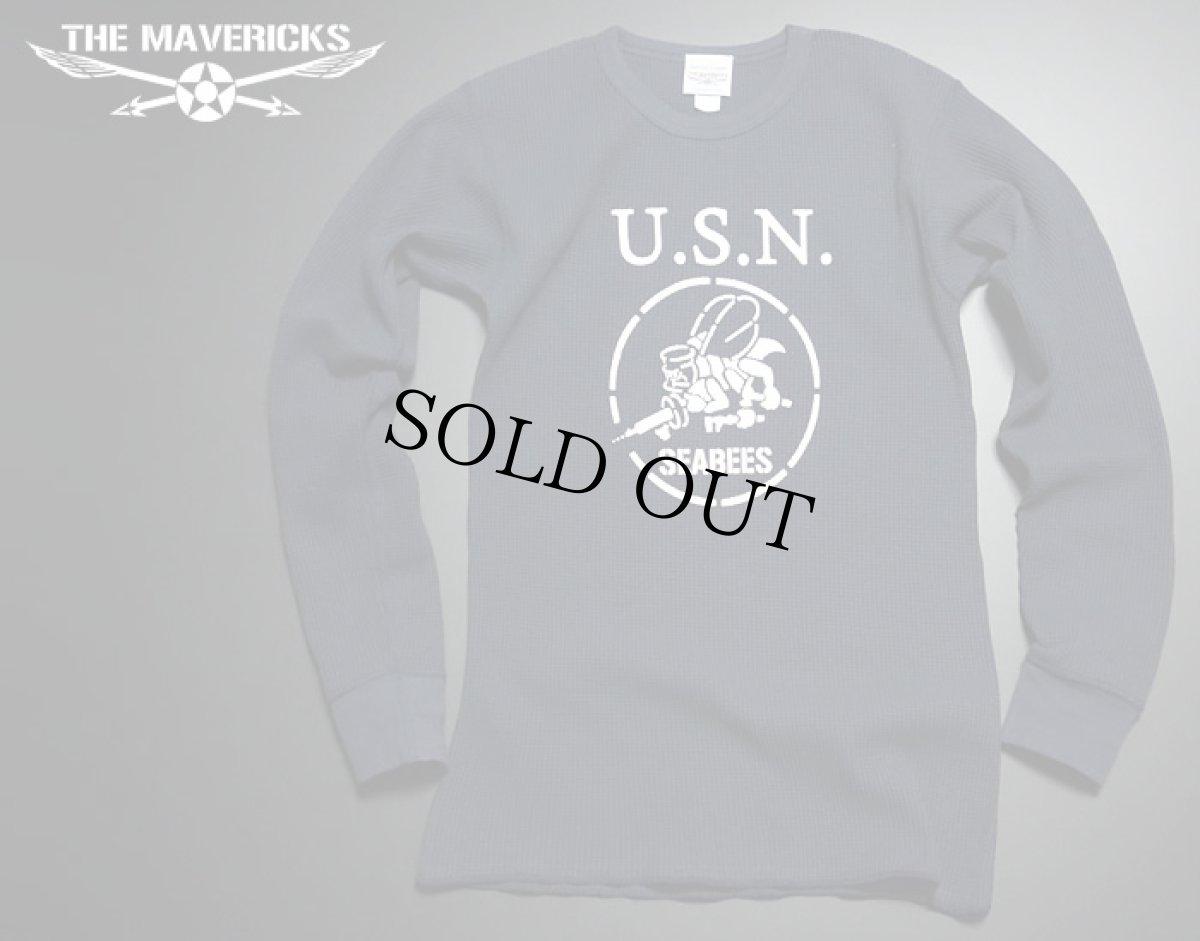 画像1: ミリタリー サーマル ワッフル 生地 メンズ 長袖 Tシャツ 米海軍 SeaBees ネイビー 紺 (1)