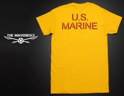 画像1: Tシャツ ミリタリー USマリン U.S.MARINE 米海兵隊 MAVERICKS ブランド / イエロー 黄