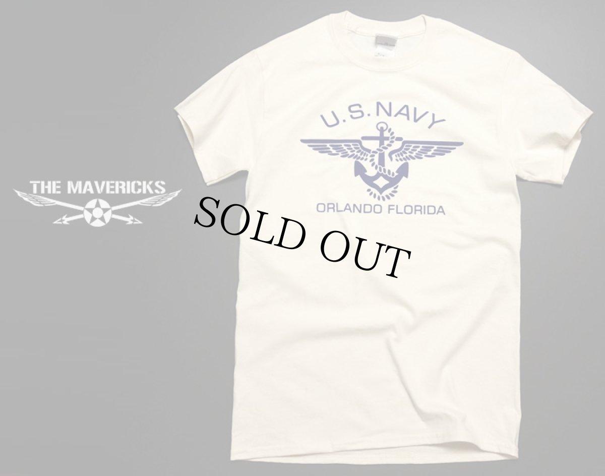 画像1: U.S.NAVY・錨マークTシャツ・フロッキープリント・生成り (1)