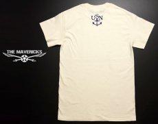 画像2: U.S.NAVY・錨マークTシャツ・フロッキープリント・生成り (2)
