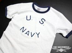 画像2: Tシャツ US NAVY 米海軍  ロゴ ミリタリー トリム リンガ ー Tシャツ / 白 紺 ネイビー (2)
