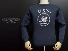 画像6: ミリタリー サーマル ワッフル 生地 メンズ 長袖 Tシャツ 米海軍 SeaBees ネイビー 紺 (6)