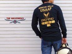 画像4: アウトレット品! 長袖 ロング Tシャツ USコットン 爆弾エアフォース ブラック XL (4)