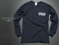 画像4: ミリタリー サーマル ワッフル 長袖 ロングTシャツ 米海軍NAVY 黒猫 / ネイビー (4)