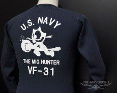 画像3: ミリタリー サーマル ワッフル 長袖 ロングTシャツ 米海軍NAVY 黒猫 / ネイビー (3)