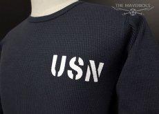 画像2: ミリタリー サーマル ワッフル 長袖 ロングTシャツ 米海軍NAVY 黒猫 / ネイビー (2)