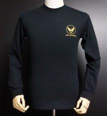 画像5: アウトレット品! 長袖 ロング Tシャツ USコットン 爆弾エアフォース ブラック XL (5)