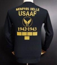 画像6: アウトレット品! 長袖 ロング Tシャツ USコットン 爆弾エアフォース ブラック XL (6)