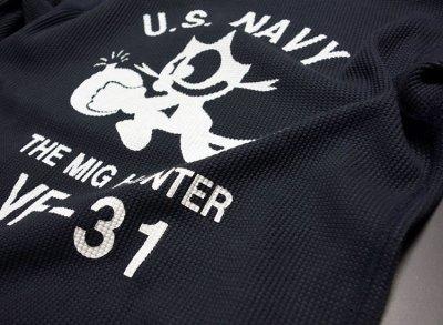 画像2: ミリタリー サーマル ワッフル 長袖 ロングTシャツ 米海軍NAVY 黒猫 / ネイビー