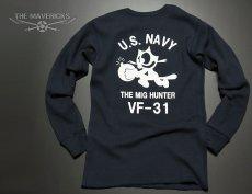 画像5: ミリタリー サーマル ワッフル 長袖 ロングTシャツ 米海軍NAVY 黒猫 / ネイビー (5)