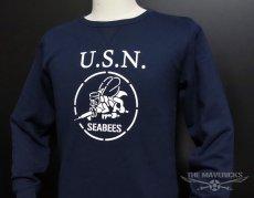 画像3: ミリタリー スウェット トレーナー メンズ 長袖 MAVEVICKS ブランド 8.4oz 裏パイル NAVY 米海軍 SeaBees ネイビー 紺 (3)