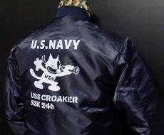 画像10: MA-1 フライトジャケット メンズ 米海軍 NAVY CROAKER潜水艦 モデル ネイビー (10)