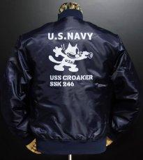 画像3: MA-1 フライトジャケット メンズ 米海軍 NAVY CROAKER潜水艦 モデル ネイビー (3)