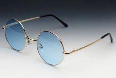 画像2: シンプルなオーバル型サングラス・丸目メタルモデル・ブルー (2)