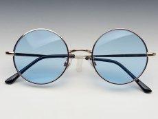 画像4: シンプルなオーバル型サングラス・丸目メタルモデル・ブルー (4)
