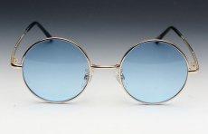 画像3: シンプルなオーバル型サングラス・丸目メタルモデル・ブルー (3)