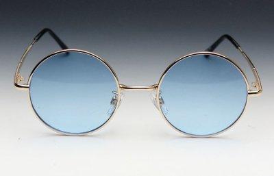 画像2: シンプルなオーバル型サングラス・丸目メタルモデル・ブルー