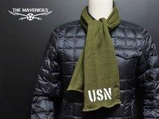 画像2: アメリカ製・米軍「USN」ウール・チューブマフラー/オリーブ (2)