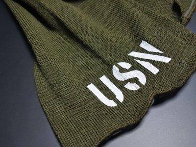 画像2: アメリカ製・米軍「USN」ウール・チューブマフラー/オリーブ