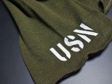 画像6: アメリカ製・米軍「USN」ウール・チューブマフラー/オリーブ (6)