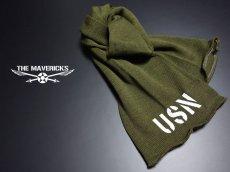 画像5: アメリカ製・米軍「USN」ウール・チューブマフラー/オリーブ (5)