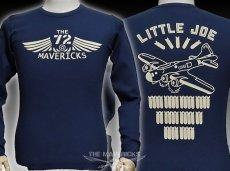 画像1: ミリタリー サーマル ワッフル 長袖 ロングTシャツ リトルジョー爆撃機  / ネイビー (1)