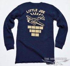 画像4: ミリタリー サーマル ワッフル 長袖 ロングTシャツ リトルジョー爆撃機  / ネイビー (4)