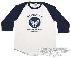 画像2: USAFエアフォース・7分丈ラグラン袖Tシャツ・白×紺 (2)