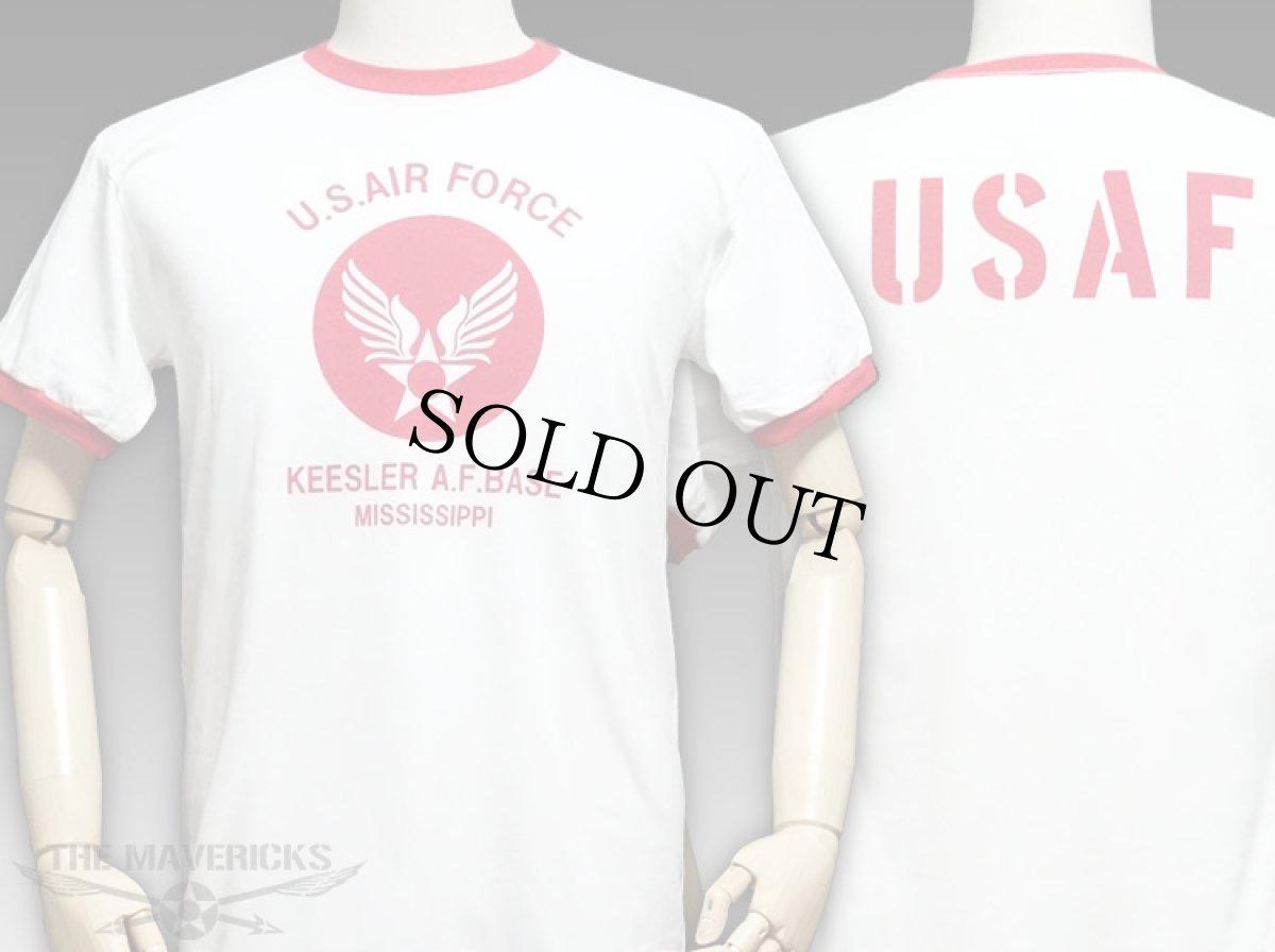 画像1: USAFエアフォース・「THE MAVERICKS」トリムTシャツ・白×赤 (1)