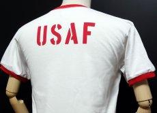 画像5: USAFエアフォース・「THE MAVERICKS」トリムTシャツ・白×赤 (5)