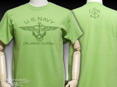 画像2: ミリタリー 半袖 Tシャツ US NAVY 米海軍 錨マーク MAVERICKS / ライムグリーン (2)