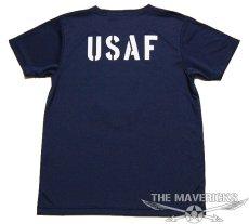 画像2: 水陸両用 ラッシュガード にも使える ドライ Tシャツ メンズ 半袖 USAF エアフォース / ネイビー 紺 (2)