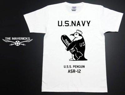 画像2: アウトレット品 極厚 スーパーヘビーウェイト生地 ミリタリーTシャツ 米海軍ペンギン USS.PENGUIN / 白 L