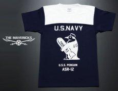 画像2: 極厚!スーパーヘビーウェイト・フットボールTシャツ!米海軍ペンギン「USS.PENGUIN」モデル (2)