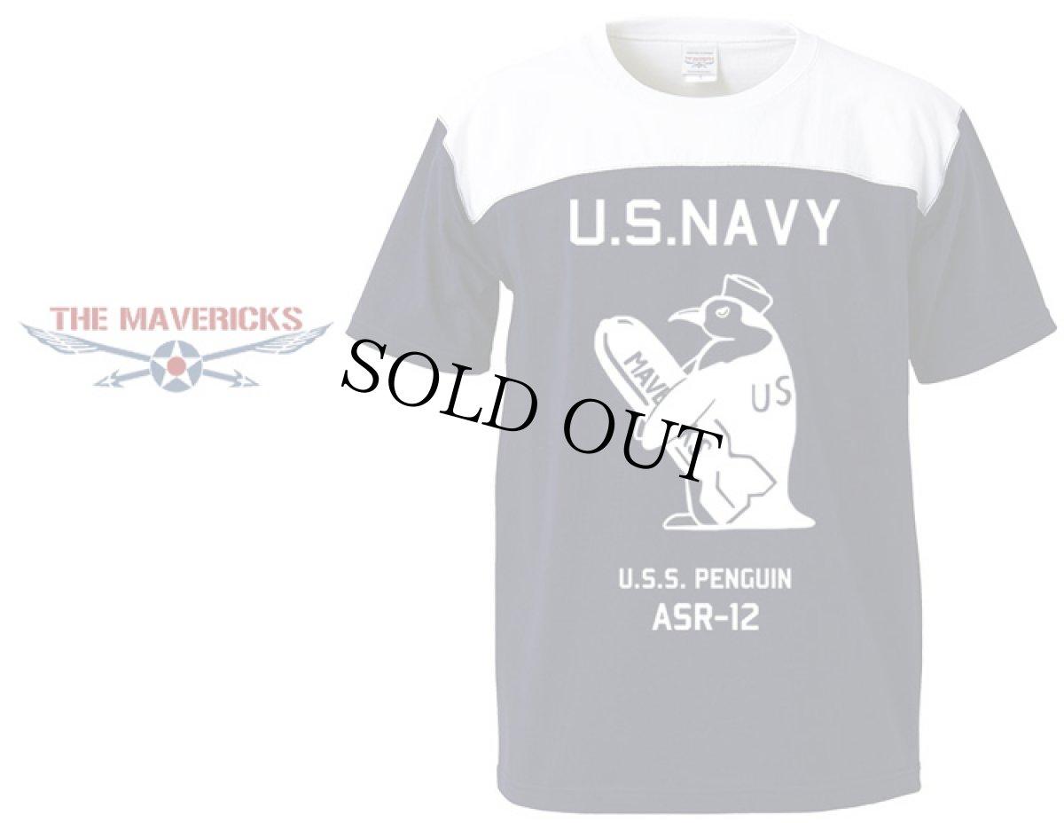 画像1: 極厚!スーパーヘビーウェイト・フットボールTシャツ!米海軍ペンギン「USS.PENGUIN」モデル (1)