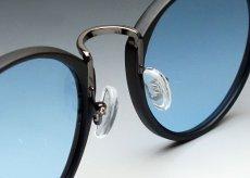 画像4: 送料無料!ビンテージな雰囲気!ブラックボストン型サングラス/つや消し黒×ブルー (4)