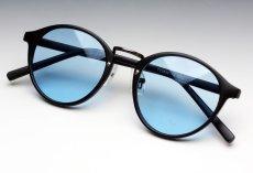 画像1: 送料無料!ビンテージな雰囲気!ブラックボストン型サングラス/つや消し黒×ブルー (1)
