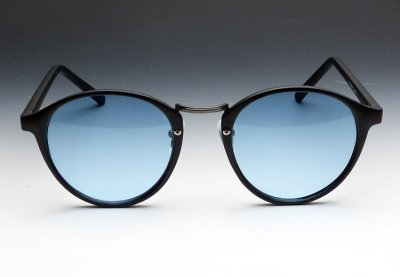 画像1: 送料無料!ビンテージな雰囲気!ブラックボストン型サングラス/つや消し黒×ブルー