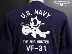 画像5: 10oz裏起毛・ミリタリースウェットトレーナー 米海軍NAVY 爆弾キャット /ネイビー (5)