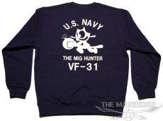 画像3: 10oz裏起毛・ミリタリースウェットトレーナー 米海軍NAVY 爆弾キャット /ネイビー (3)