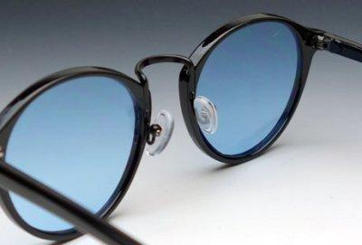 画像3: 送料無料!ビンテージな雰囲気!ブラックボストン型サングラス/黒×ブルー