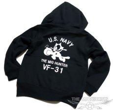 画像3: 10oz裏起毛・スウェットジップアップパーカー 米海軍NAVY 爆弾キャット/ブラック (3)