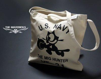 画像1: キャンバス地 2WAY ショルダー トート バッグ 米海軍NAVY モデル/ナチュラル 生成