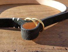 画像4: スウェードレザー リングベルト 上品な本革ベルト/ブラック ネイビー ベージュ ブラウン (4)
