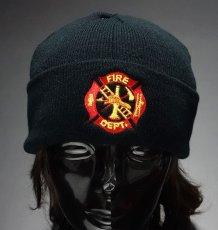 画像2: 「US.消防署」・ROTHCO社・「US.FIRE.DEPT」ニットキャップ・黒 (2)