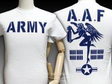 画像1: ミリタリーTシャツ メンズ 半袖 ARMY AAF米陸軍 フライングレディー/白 ホワイト (1)