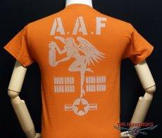 画像5: ミリタリーTシャツ メンズ 半袖 ARMY AAF米陸軍 フライングレディー/オレンジ (5)