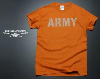 画像1: ミリタリーTシャツ メンズ 半袖 ARMY AAF米陸軍 フライングレディー/オレンジ