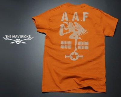 画像2: ミリタリーTシャツ メンズ 半袖 ARMY AAF米陸軍 フライングレディー/オレンジ