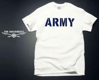 画像1: ミリタリーTシャツ メンズ 半袖 ARMY AAF米陸軍 フライングレディー/白 ホワイト